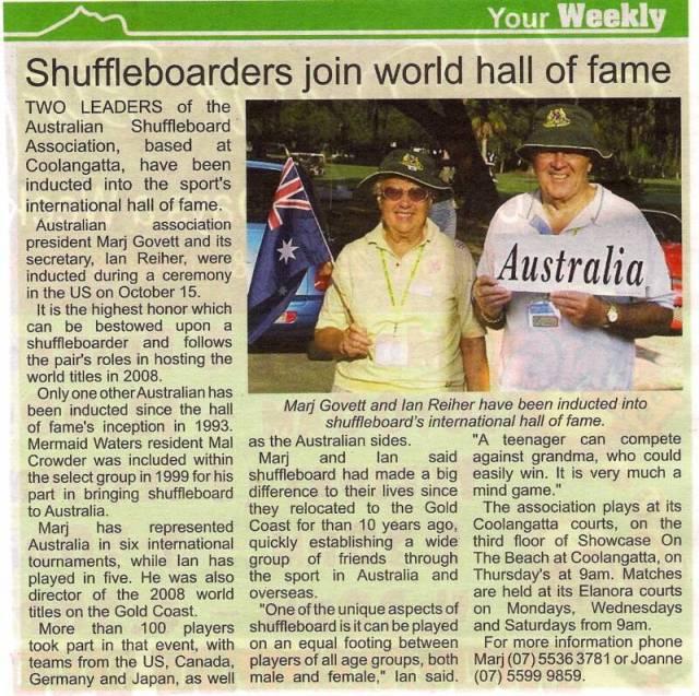 Ian & Marj HOF reported in AUS News