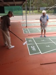 Marj Govett and Lou Giovine rebeading after repairing a court