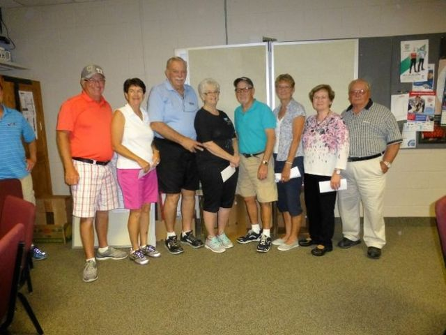 PHOTO COURTESY OF FOOTHILLS SHUFFLEBOARD ASSOCIATION. As pictured from left to right are: Brian and Gina Bissillion from Edmonton, Alta. (First Place), Ken and Verena Wardley (Second Place), Bill Piet of Manitoba and Milly Mollow from Saskatchewan (Third Place) and Jim and Carroll Jackson of Blackie (Fourth Place).