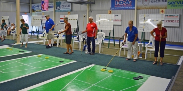 A total of 12 teams and 120 players took part in the 3rd annual Alberta Canadian Shuffleboard Association team tournament Aug. 8 to 12 at the Innisfail Curling Club.