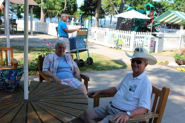 Dolores and John Brown enjoying life at Lakeside, OH on July 20th, 2016.
