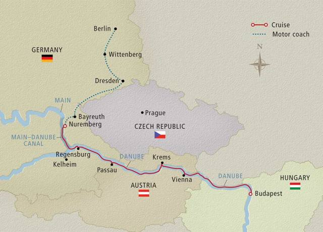 Map Showing our Trip and Cruise.