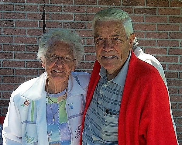 Marg Pogson Celebrates 100 Years of Life!! Shown here with Fellow Shuffler Gerald Balson in 2006.
