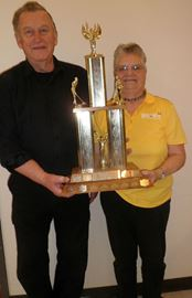 The duo of Ron Pettem, left, and Jean Smith won the Mississippi Mills Shuffleboard Trophy during the annual tournament Feb. 21 at the Almonte arena.
