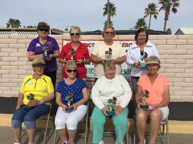 Image 5105 is Ladies Championship winners L>R by team: 1) Maureen Kroll & Gloria Toutloff  2) Susan Robnolte & Norma Hoffman  3) Sylvia Smith & Jan Crouse  4) Ethel Feist & Crystal Huston