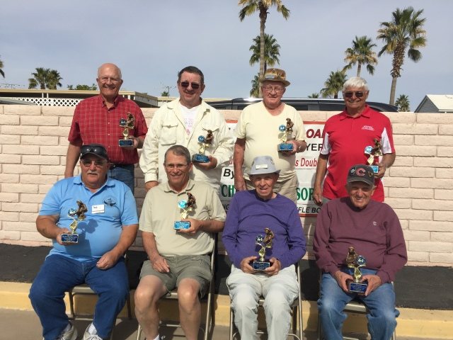 Men's Championship winners L<R by team 1) Jack Sell & Sid Barone 2) Roger Johnson & Ron Sawallisch 3) Jack McClure & Scott Davenport  4) Gordy Harder & Bob Carney.