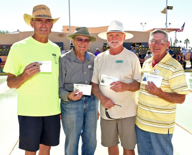 Men's Championship Division, L to R: Chuck Crouse, 1st Place; Larry Bartelheimer, 2nd Place; Garry Hogan, 3rd Place & Fred Wacker, 4th Place